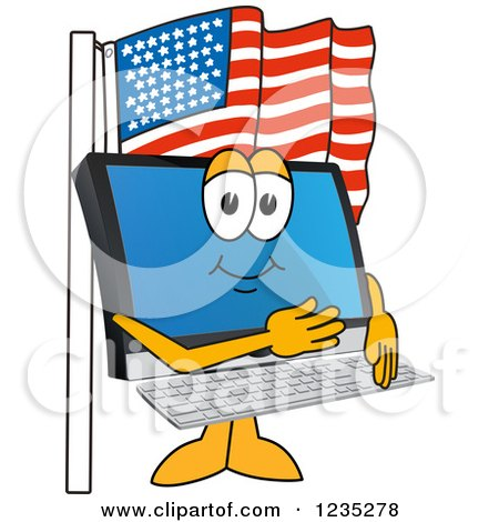 Clipart of a PC Computer Mascot Pledging Allegiance to the American Flag - Royalty Free Vector Illustration by Toons4Biz