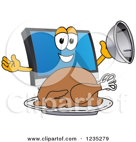 Clipart of a PC Computer Mascot Serving a Thanksgiving Turkey - Royalty Free Vector Illustration by Toons4Biz