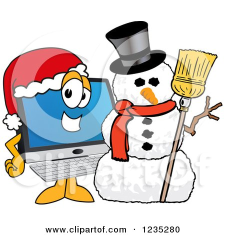 Clipart of a PC Computer Mascot by a Christmas Snowman - Royalty Free Vector Illustration by Toons4Biz