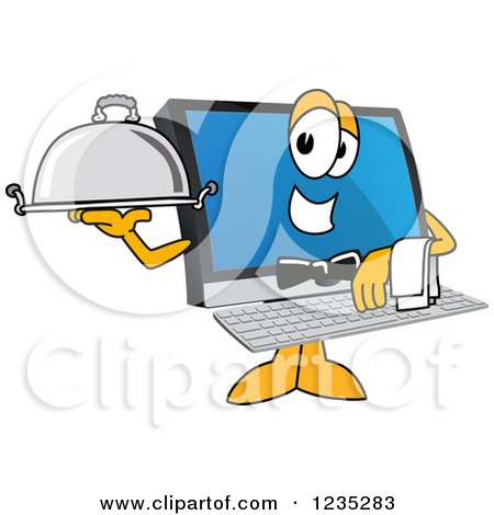 Clipart of a Waiter PC Computer Mascot - Royalty Free Vector Illustration by Toons4Biz