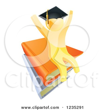 Clipart of a 3d Gold Person Graduate Cheering and Sitting on a Stack of Books - Royalty Free Vector Illustration by AtStockIllustration