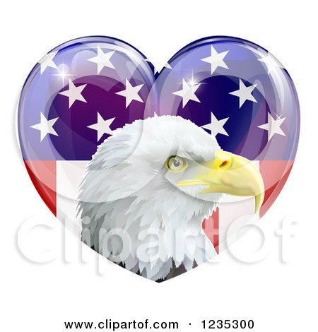 Clipart of a Bald Eagle Head over an American Flag Heart - Royalty Free Vector Illustration by AtStockIllustration