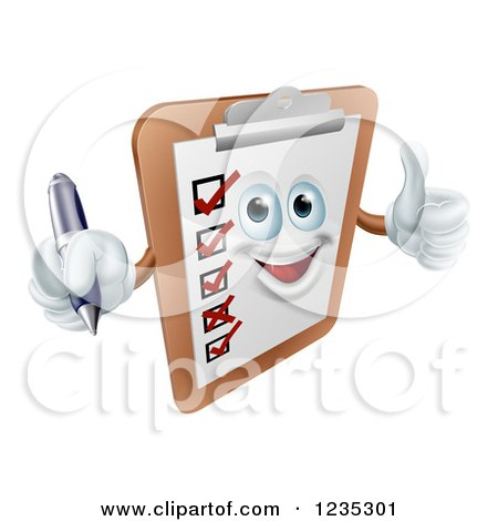 Clipart of a Happy Survey Clipboard Holding a Pen and Thumb up - Royalty Free Vector Illustration by AtStockIllustration