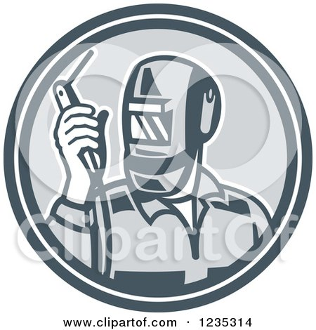 Clipart of a Retro Welder Worker in a Gray Circle - Royalty Free Vector Illustration by patrimonio