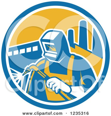 Clipart of a Retro Welder Worker in a Factory Circle - Royalty Free Vector Illustration by patrimonio