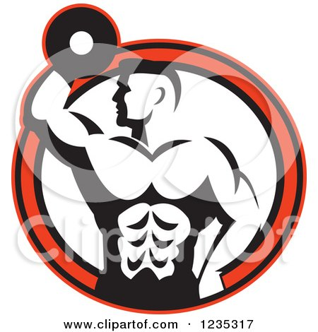 Clipart of a Retro Black and White Bodybuilder with a Dumbbell over a Red and White Circle - Royalty Free Vector Illustration by patrimonio