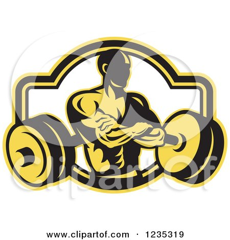 Clipart of a Yellow and Black Retro Bodybuilder with a Barbell - Royalty Free Vector Illustration by patrimonio