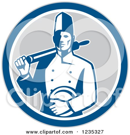 Clipart of a Retro Male Chef with a Plate and Rolling Pin in a Gray White and Blue Circle - Royalty Free Vector Illustration by patrimonio