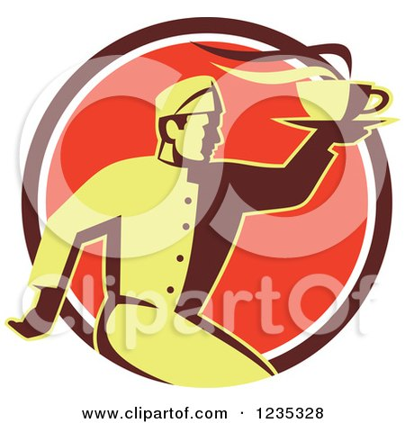 Clipart of a Retro Chef Running with Hot Soup on a Red Circle - Royalty Free Vector Illustration by patrimonio