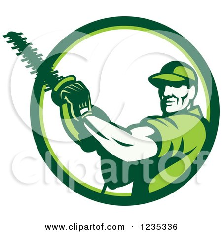Clipart of a Retro Male Arborist Using a Chain Saw in a White and Green Circle - Royalty Free Vector Illustration by patrimonio