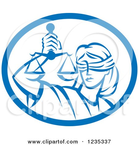 Clipart of a Retro Blindfolded Lady Justice Holding Scales in a Blue and White Oval - Royalty Free Vector Illustration by patrimonio