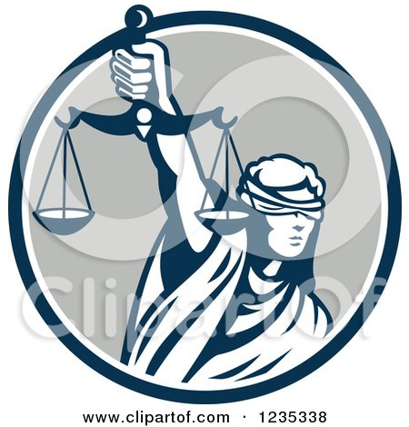 Retro Blindfolded Lady Justice Holding Scales in a Blue and Gray Circle Posters, Art Prints