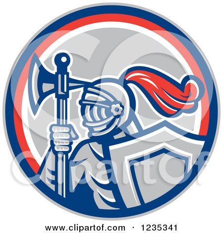 Clipart of a Retro Knight with an Axe and Shield in a Red White and Gray Circle - Royalty Free Vector Illustration by patrimonio