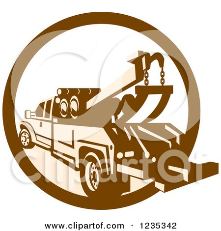 Clipart of a Retro Brown and Tan Tow Truck in a Circle - Royalty Free Vector Illustration by patrimonio