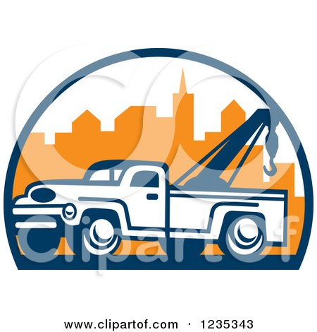 Clipart of a Retro Tow Truck over a City - Royalty Free Vector Illustration by patrimonio