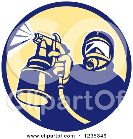 Clipart of a Retro Man Spraying Paint or Pesticide in a Circle - Royalty Free Vector Illustration by patrimonio
