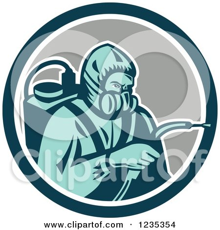 Clipart of a Retro Pest Control Exterminator Spraying in a Circle - Royalty Free Vector Illustration by patrimonio
