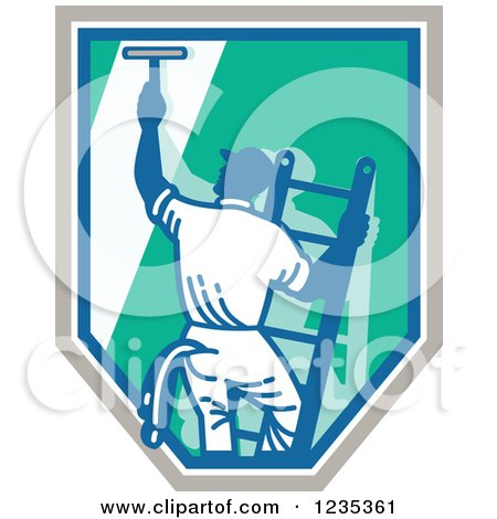 Clipart of a Retro Window Washer on a Ladder and Shield - Royalty Free Vector Illustration by patrimonio