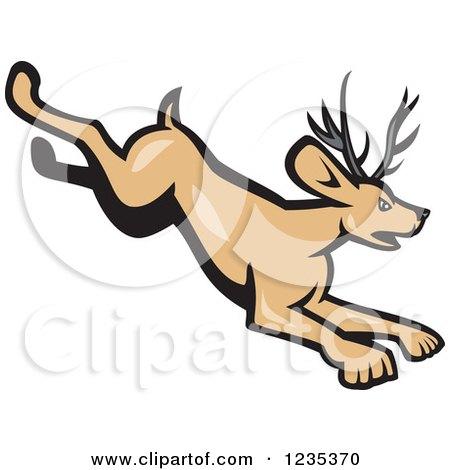Clipart of a Cartoon Running Horned Rabbit Jackalope - Royalty Free Vector Illustration by patrimonio