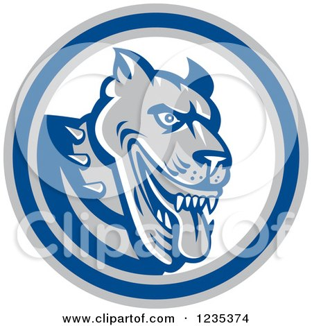Clipart of a Retro Guard Dog in a Blue White and Gray Circle - Royalty Free Vector Illustration by patrimonio