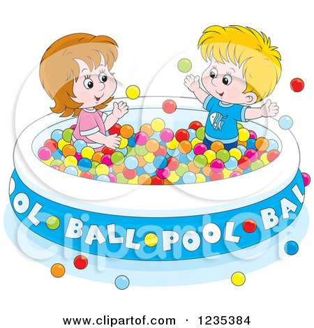 Clipart of Caucasian Children Playing in a Ball Pool - Royalty Free Vector Illustration by Alex Bannykh