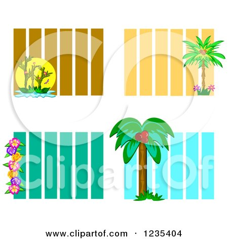 Clipart of Backgrounds of Bamboo Palm Trees and Hibiscus Flowers over Stripes - Royalty Free Vector Illustration by bpearth