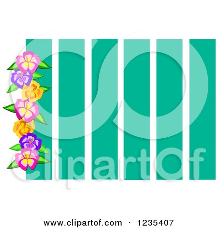 Clipart of a Border of Hibiscus Flowers over Turquoise Stripes - Royalty Free Vector Illustration by bpearth