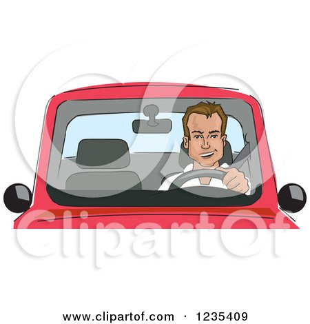 Clipart of a Caucasian Man Driving a Car - Royalty Free Vector Illustration by David Rey