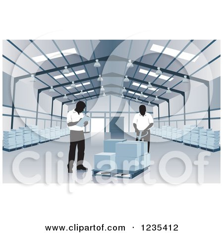 Clipart of Warehouse Workers Checking an Order - Royalty Free Vector Illustration by David Rey