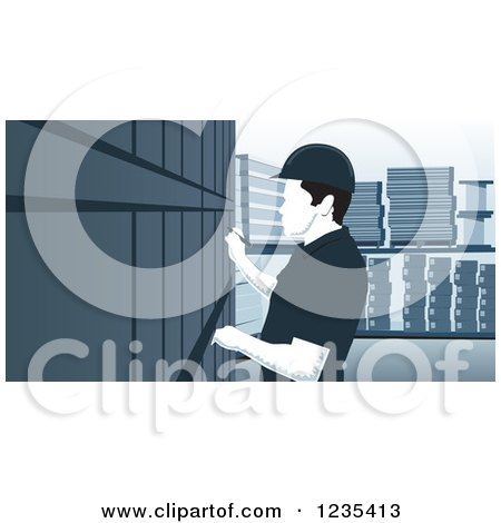 Clipart of a Woodcut Inventory Warehouse Worker - Royalty Free Vector Illustration by David Rey
