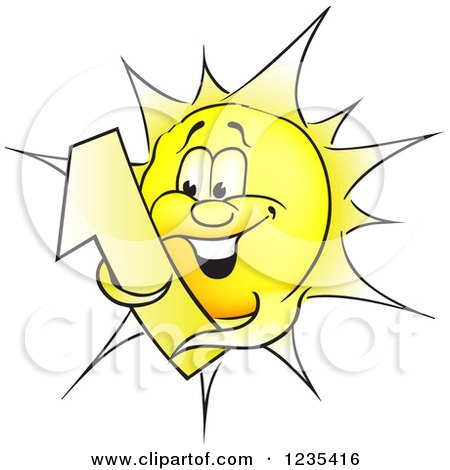 Clipart of a Yellow Sun Character Hugging Number 1 - Royalty Free Vector Illustration by dero