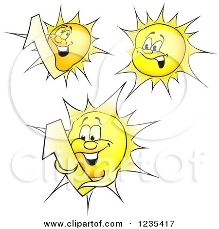 Clipart of Yellow Sun Characters - Royalty Free Vector Illustration by dero