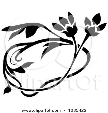 Clipart of a Black and White Floral Design Element - Royalty Free Vector Illustration by dero