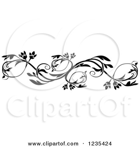 Clipart of a Black and White Floral Design Element 4 - Royalty Free Vector Illustration by dero