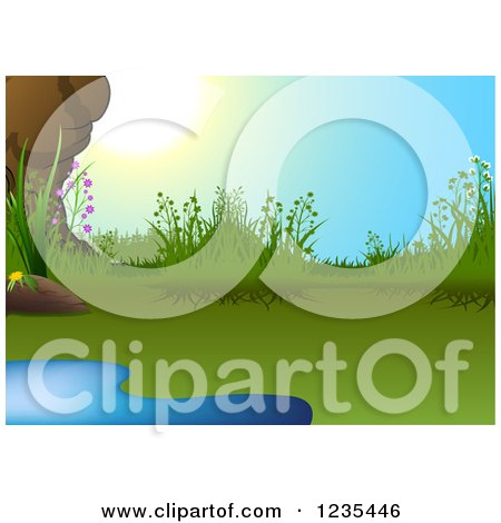 Clipart of a Natural Pond and Sunshine - Royalty Free Vector Illustration by dero