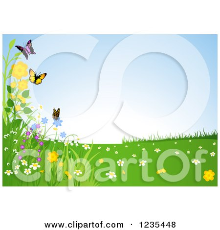 Clipart of a Butterfly and Flower Spring Landscape - Royalty Free Vector Illustration by dero