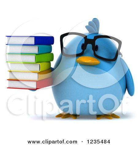 Clipart of a 3d Bespectacled Chubby Blue Bird Holding a Stack of Books 2 - Royalty Free Illustration by Julos