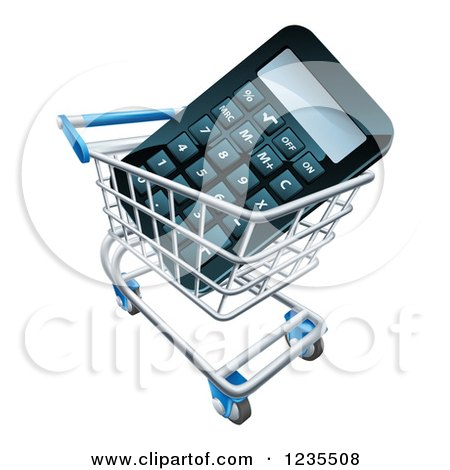 Clipart of a 3d Calculator in a Shopping Cart - Royalty Free Vector Illustration by AtStockIllustration