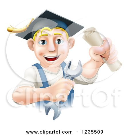 Clipart of a Happy Blond Worker Graduate Holding a Wrench and Degree - Royalty Free Vector Illustration by AtStockIllustration