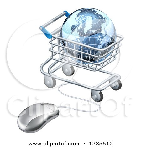 Clipart of a 3d Earth Globe in a Shopping Cart Connected to a Computer Mouse - Royalty Free Vector Illustration by AtStockIllustration