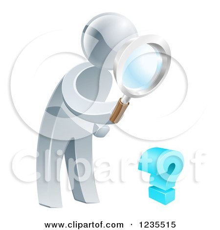 Clipart of a 3d Silver Man Searching for Answers with a Magnifying Glass - Royalty Free Vector Illustration by AtStockIllustration