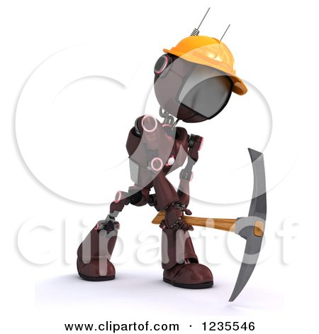 Clipart of a 3d Red Android Construction Robot Using a Pick Axe - Royalty Free Illustration by KJ Pargeter