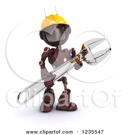 Clipart of a 3d Red Android Construction Robot with a Spanner Wrench 5 - Royalty Free Illustration by KJ Pargeter