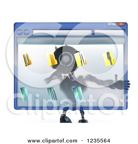 Clipart of a 3d Blue Android Robot Behind a Computer File Window - Royalty Free Illustration by KJ Pargeter