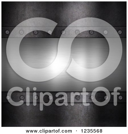 Clipart of a 3d Brushed Metal Panel with Rivets - Royalty Free Illustration by KJ Pargeter