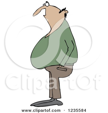 Clipart of a Chubby Bald Hispanic Man Looking up - Royalty Free Vector Illustration by djart