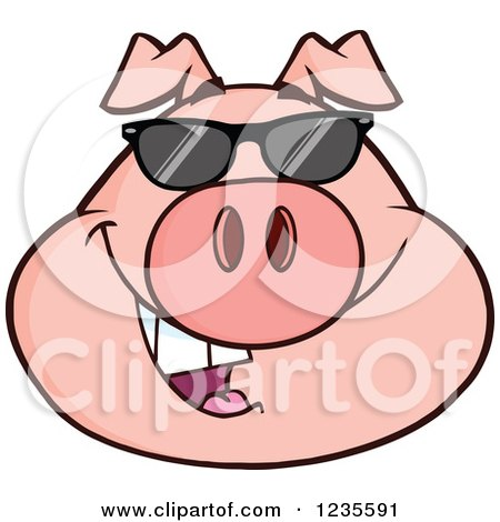 Clipart of a Smiling Pig Head with Sunglasses - Royalty Free Vector Illustration by Hit Toon