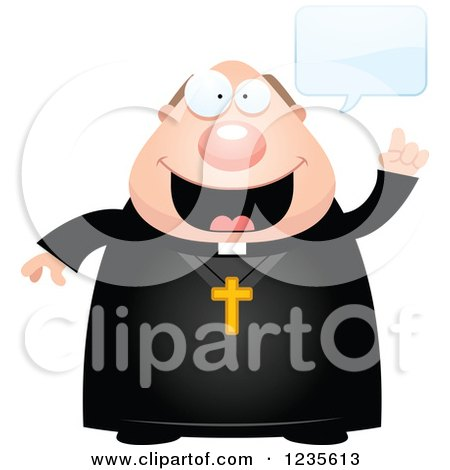 Clipart of a Chubby Priest Talking - Royalty Free Vector Illustration by Cory Thoman