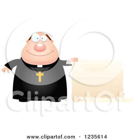 Clipart of a Chubby Priest Holding a Scroll Sign - Royalty Free Vector Illustration by Cory Thoman