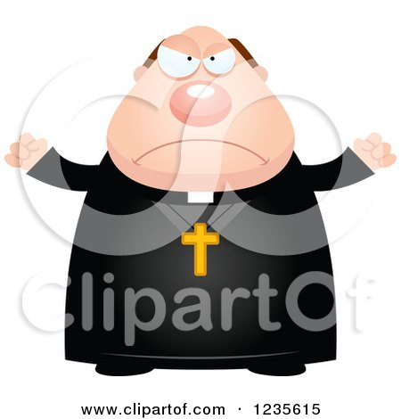Clipart of a Mad Chubby Priest - Royalty Free Vector Illustration by Cory Thoman